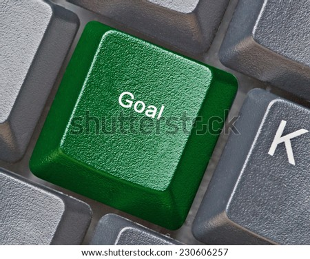 Keyboard with key for goal - stock photo