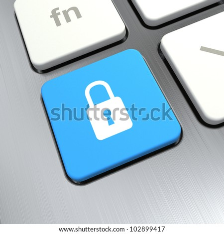 """keyboard with """"lock"""" button 3d rendering - stock photo"""