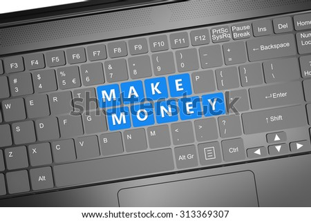 Keyboard with make money text: 3D render illustration - stock photo