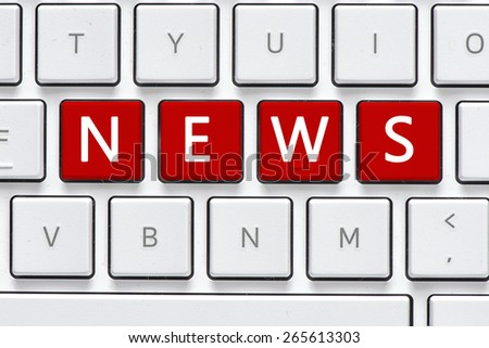 Keyboard with news button. Computer white keyboard with news button - stock photo