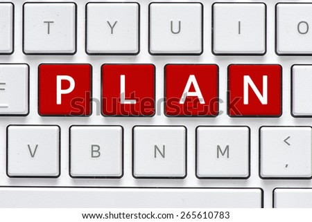 Keyboard with plan buton. Computer white keyboard with plan button - stock photo
