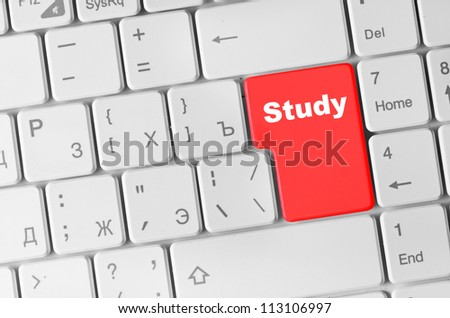 Keyboard with red study button, internet concept - stock photo