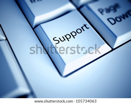 Keyboard with Support button, business concept - stock photo