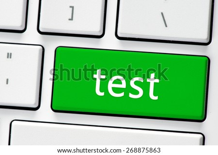 Keyboard with test button. Computer white keyboard with test button - stock photo