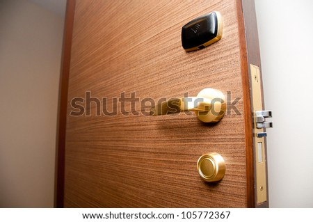 keycard door - stock photo