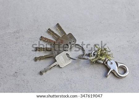 Keychain and Many keys on gray tile background - stock photo