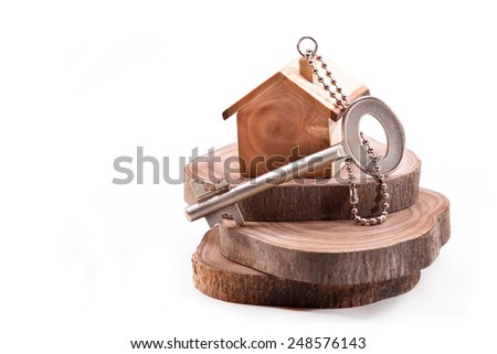 Keychain in the shape of the house with the key on sections of the olive tree - stock photo