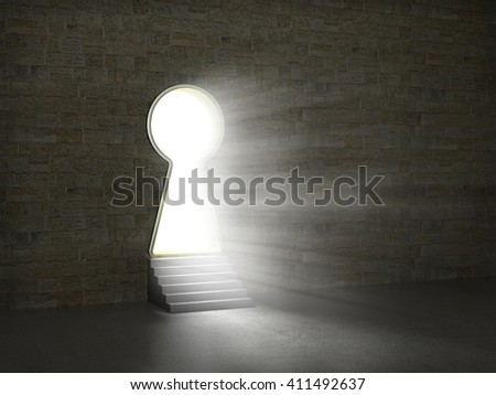 Keyhole in a stone wall. 3d illustration - stock photo