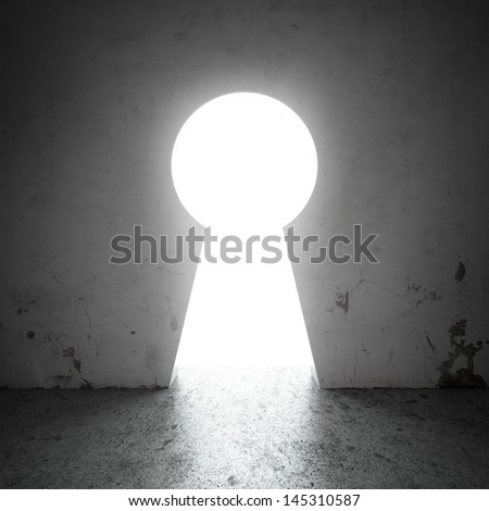 keyhole in the wall - stock photo