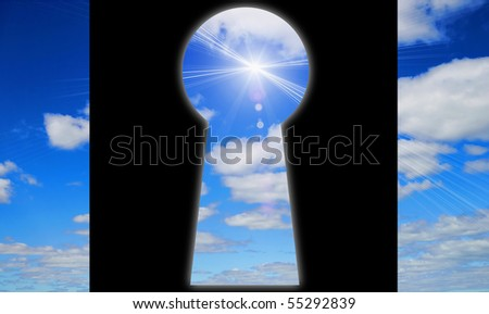 Keyhole - the door to another dimension - stock photo