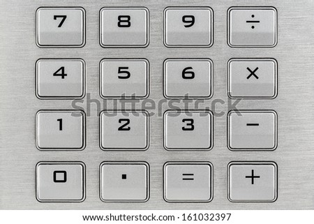 Keypad with digits and mathematical operations - stock photo