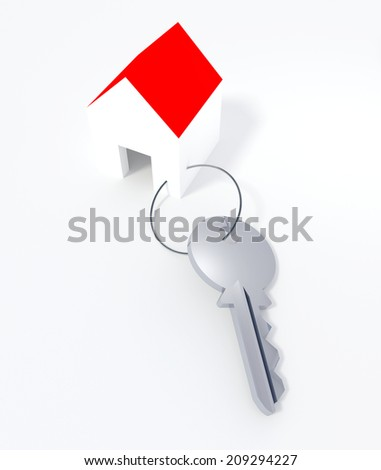 Keyring with a shape of a small house. - stock photo