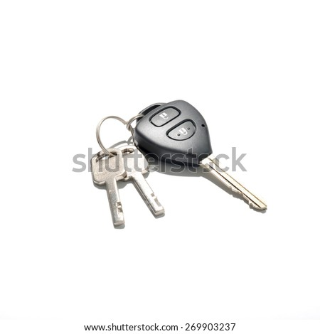keys and car key isolated on white background - stock photo