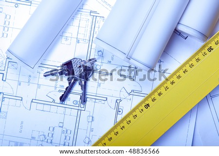 Keys and home project in blue - stock photo