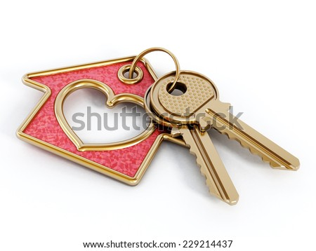 Keys and house pendant with heart shape isolated on white background. - stock photo