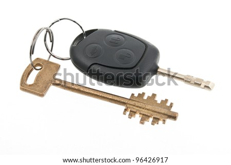 Keys from house and car. Isolated on white bac?ground. - stock photo