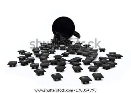 keys from keyboard and black pot isolated on the white background - stock photo