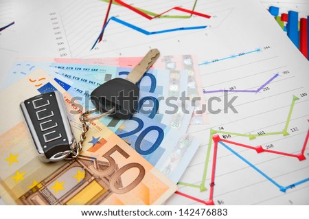 Keys from the car, banknote euro on graphs. - stock photo