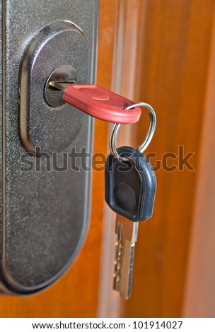 keys in the lock of an entrance door - stock photo