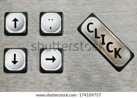 keys of a metal keyboard,.shallow depth of field. - stock photo
