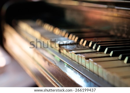 keys of an old piano - stock photo