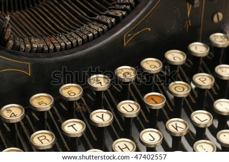 Keys on an old typewriter - stock photo