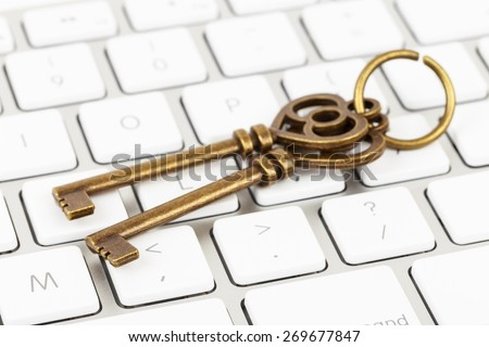 Keys on keyboard concept computer security - stock photo
