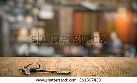 keys on table in a night club - stock photo