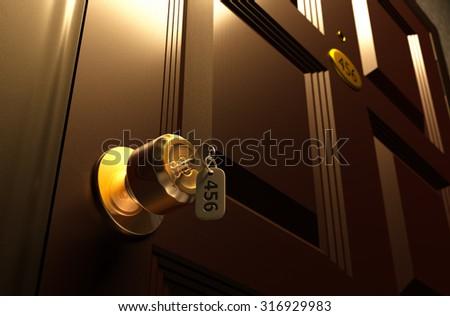 Keys on the knob, Room No. 456, 3d rendering. - stock photo