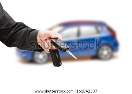 Keys to the car. White background. - stock photo