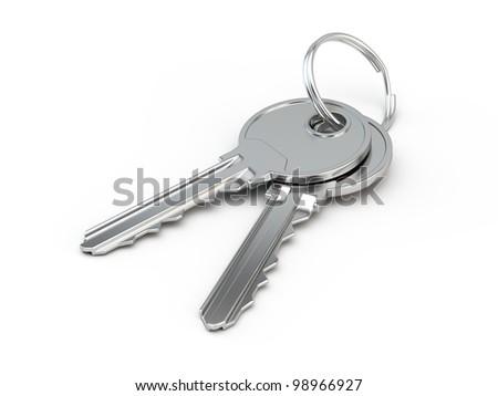 Keys with keyring isolated on white - stock photo