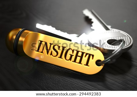 Keys with Word Insight on Golden Label over Black Wooden Background. Closeup View, Selective Focus, 3D Render. - stock photo