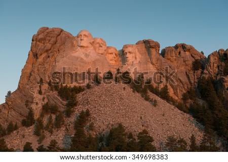 KEYSTONE, SOUTH DAKOTA - OCTOBER 312: Dawn at Mount Rushmore National Memorial on October 31, 2015 near Keystone, South Dakota  - stock photo