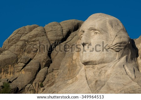 KEYSTONE, SOUTH DAKOTA - OCTOBER 31: George Washington on Mount Rushmore National Memorial on October 31, 2015 near Keystone, South Dakota - stock photo