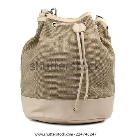 Khaki drawsting bag isolated on white background. - stock photo