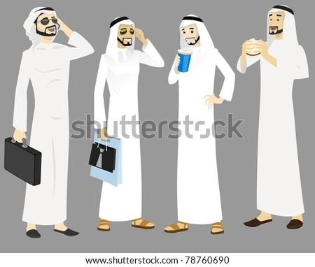 Khaliji Men Icons In Standing Positions - stock photo