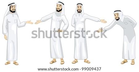 Khaliji Welcoming Men - stock photo