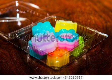 Khanom chan, kind of Thai sweetmeat in Thailand. - stock photo