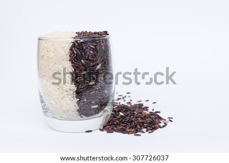 Khao Hom Nil or Black Fragrant Rice mix with Fragrant Rice - stock photo