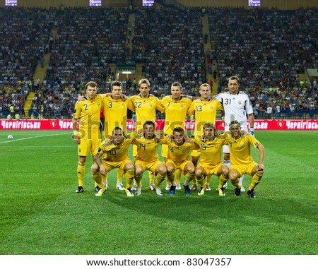 KHARKIV, UA - AUGUST 10: Ukrainian national team at start of Ukraine - Sweden (0:1) national teams friendly football match, August 10, 2011 in Kharkov, Ukraine - stock photo
