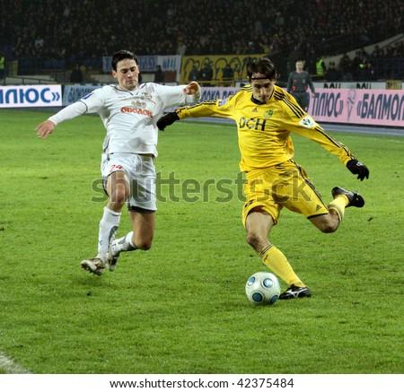 KHARKIV, UKRAINE - DECEMBER 5: Players in action within FC Metalist (Kharkov) - FC Obolon (Kyiv) (0:1) soccer match, December 5, 2009 in Kharkov, Ukraine - stock photo