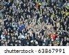 KHARKIV, UKRAINE - OCTOBER 21: Metalist fans during Metalist Kharkiv vs. Sampdoria Genoa Group stage (Group I) UEFA Europa League football match (2:1), October 21, 2010 in Kharkov, Ukraine - stock photo