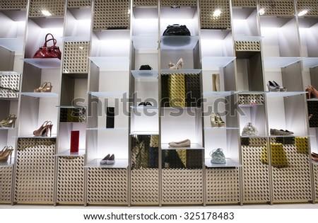KHARKOV, UKRAINE - 7 MAY 2014: accessories store interior - stock photo