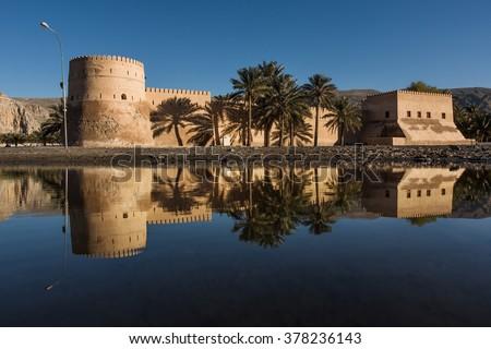 Khasab castle, Musandam peninsula, Oman, Arabia - stock photo