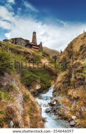 Khevsureti mountains Georgia village in the country Stock Photo - stock photo