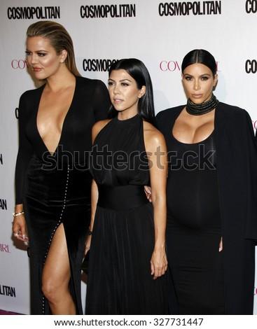 Khloe Kardashian, Kourtney Kardashian and Kim Kardashian at the Cosmopolitan's 50th Birthday Celebration held at the Ysabel in West Hollywood, USA on October 12, 2015. - stock photo