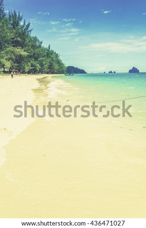 Kho Ngai island in Trang, Thailand (Vintage filter effect used) - stock photo