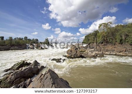 Khon Phapheng waterfalls in Laos - stock photo