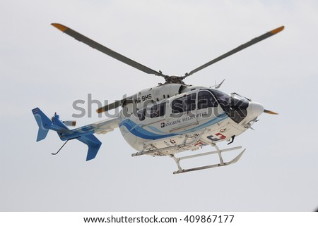 Khonkean province, Thailand- April,2016 : Helicopter for training emergency aeromedical evacuation  - stock photo