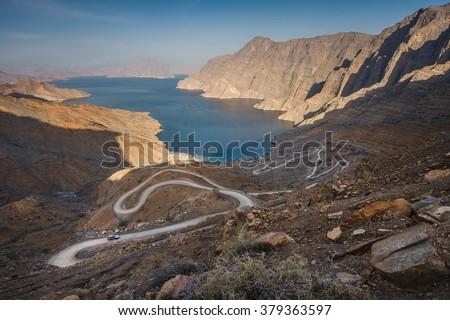 Khor Najd - most iconic place in Musandam peninsula, Oman, Arabia - stock photo